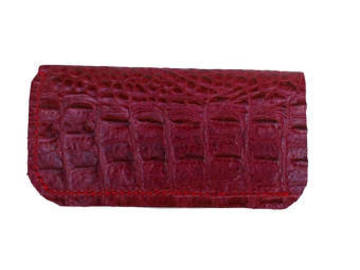 Sale retail: Etui à lunette en cuir Bordeaux impression alligator