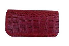 Vente au détail: Etui à lunette en cuir Bordeaux impression alligator