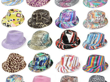 Sell: 72pc Mixed Unisex Sequin Fedora Hats