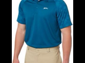 Selling: Slazenger Men's Mineral Jacquard Sleeve Golf Polo