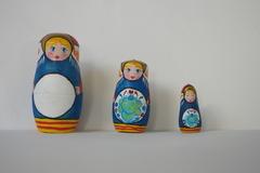 Vente au détail: Trio de matriochka en bois - Freyja la viking