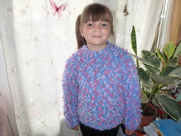 Sale retail: pull fille 6/7 ans en mohair pop corn