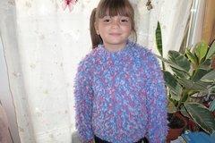 Vente au détail: pull fille 6/7 ans en mohair pop corn