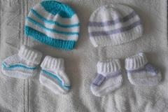 Vente au détail: lot 2 vetement bébé/Ensemble bonnet chaussons blanc /trico