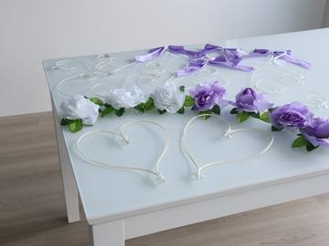 Ilmoitus: Hääauton koristesetti, lila/valkoinen
