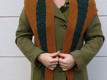 """Vente au détail: Etôle tricotée dentelle """"Ma petite chaufferette"""" marron"""