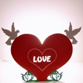 Vente au détail: Lampe coeur et colombes en bois