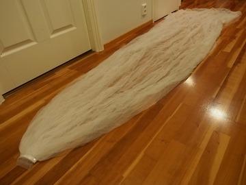 Ilmoitus: Kaksi kerroksinen, 3 m pitkä huntu. Väri ivory