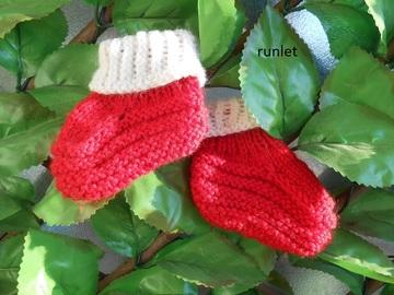 Vente au détail: chaussons bebe en laine rouge 0.1mois, tricoté main