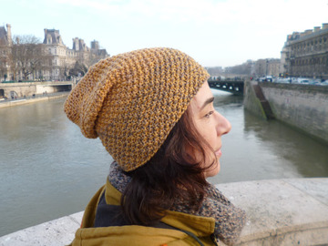 Sale retail: Bonnet Beanie moutarde et vison/ TU