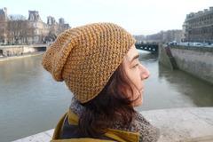 Vente au détail: Bonnet Beanie moutarde et vison/ TU