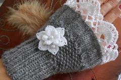 Vente au détail: mitaines femme en laine grise dentelle fleur,cadeau femme
