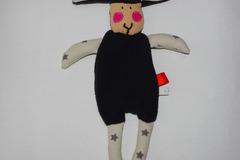 Vente au détail: Doudou Mouton noir et gris étoilé aux joues roses