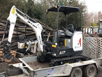Daily Equipment Rental: Bobcat E17 1.7 Ton machine three buckets