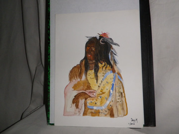 Sale retail: aquarelle tete indien