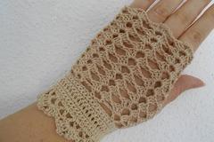Vente au détail: Mitaines dentelle femme en coton au crochet beige.noir.blanc
