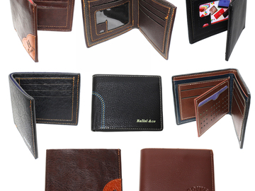 Liquidation/Wholesale Lot: (84) Classic Bi-Fold Men PU Leather Credit Card Wallets