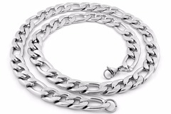 Sell: 60 PIECES -8MM 14KT WHITE GOLD OVERLAY CUBAN LINK CHAIN