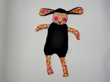 Vente au détail: Doudou Mouton noir et rouge décoré de bulles colorées