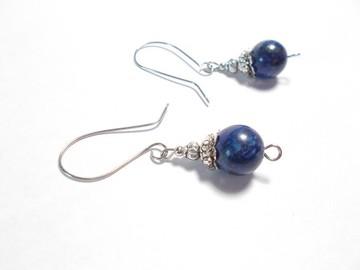 Vente au détail: Bo pierres lapis lazuli, métal argenté vieilli
