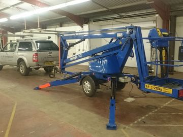 Daily Equipment Rental: Trailer Mounted Towable Cherry Picker Boom Lift Access Equip