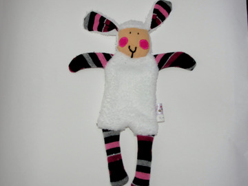 Vente au détail: Doudou Mouton blanc aux rayures noire, grise et rose
