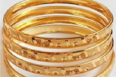 Bulk Lot: (243) New Multitone Multilayer Golden Bangles -PRICE DROP