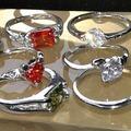 Sell: 100pc 14k wht gld plt Rings Zircon crystal Stones MSRP $10ea
