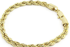 Liquidation Lot:  24 PIECES 14KT GOLD OVERLAY ROPE BRACELETS 6MM 8.5 Inches