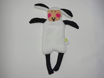 Vente au détail: Doudou Mouton Blanc - bleu nuit/pois blancs