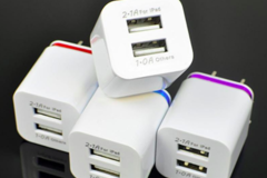Sell: Double USB Outlet Charging Block 5V 2.1/1A Multi Colored 200