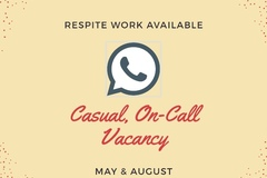Seeking Support Worker etc.: Casual on call for Respite work in May and August
