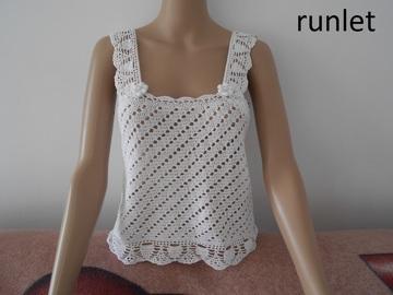 Sale retail: top femme coton dentelle blanche crochet .-taille 42