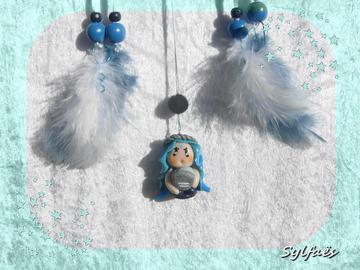 Sale retail: Petit Attrape-rêves féerique figurine zodiaque verseau fille