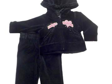 Sell: 19 Harley Davidson Infant Baby Girls 2pc Velour Suit - Black
