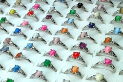Sell: 100 pcs Cats eye, Glitter Stone, Silver plated rings