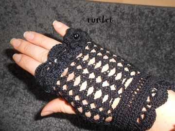 Vente au détail: mitaines dentelle noire au crochet runlet