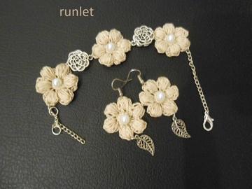 Vente au détail: Parure bijoux au crochet bracelet et boucles d*oreille fleur