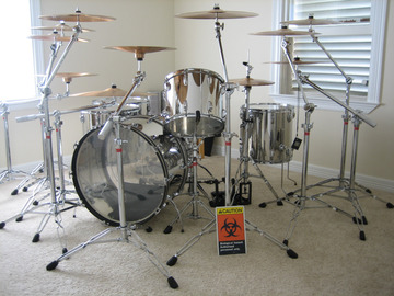 SOLD!: [REDUCED] Ludwig Stainless Steel collection w/Paiste cymbals