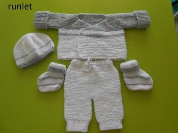 Vente au détail: brassière bonnet chaussons pantalon bébé en laine grise