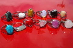 Sell: 100 pc Stone Rings 14k wt Gold Ptd- Retail @ $9.99ea