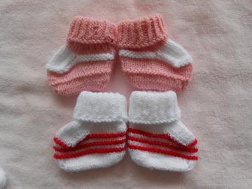 Vente au détail: lot 2 chaussons bébé en laine