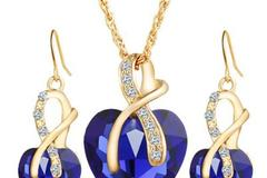 Sell: 40x 3pcs sets Jewelry Women's Crystal Heart Necklace with Ma