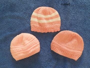 Vente au détail: 3 bonnet rose  bébé en laine/Bonnet naissance
