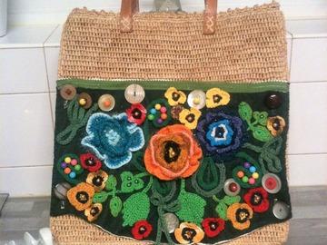 Vente au détail: sac cabas bohème fleuri,panier fleuri