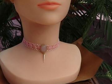 Vente au détail: Ras de cou rose, perle nacrée
