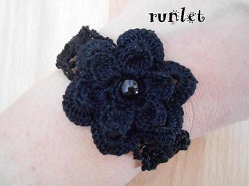 Vente au détail: bracelet femme fleur noire au crochet/bracelet femme
