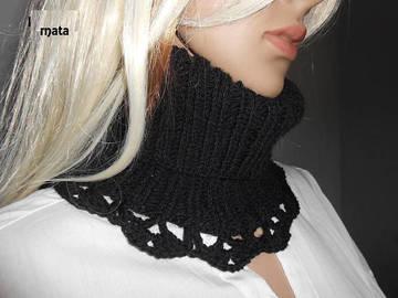 Vente au détail: écharpe laine noire femme//Echarpe en tube - tour de cou sno