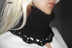 Sale retail: écharpe laine noire femme//Echarpe en tube - tour de cou sno