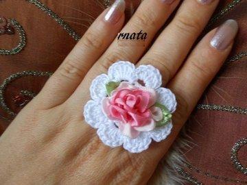 Vente au détail: bague de mariage,bague au crochet,bague fleur,bijoux au croc